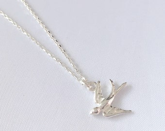 Short necklace in 925 sterling silver with swallow - bird necklace pendant silver