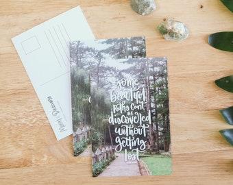 Beautiful Paths Postcard, Travel Postcard, Lettering Print