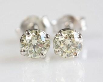 Tiny Stud Earrings-Gold  Earrings with Zirconia -14K White Gold Earrings-Stud Earrings-Women Stud Earrings -Birthday gift-Graduation present