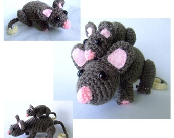Ringtail Possum and baby amigurumi crochet pattern PDF