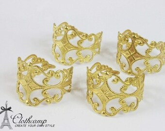 100 PCS Adjustable  Raw Brass Rings jewelry  filigree ring (RINGSS-3)