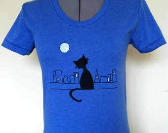 Cat City Shirt Women Heather Blue Sizes Small through XLarge