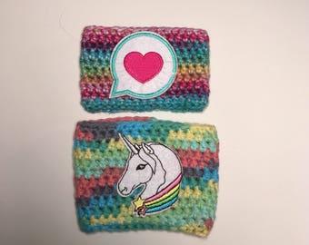 Coffee sleeve / crochet cup cozy / unicorn cup cozy / heart cup cozy / crochet coffe cup sleeve / coffee lovers