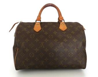 Authentic LOUIS VUITTON Monogram Canvas Leather Speedy 30 Handbag Bag Purse