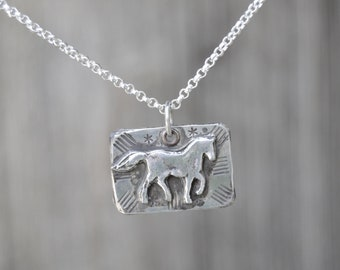 Horse Sterling Silver Necklace . Hand Forged . Sterling Necklace.Rustic. Necklace.