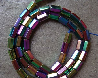 5 BEADS, FACETED HEMATITE TUBE 8X5MM A. RAINBOW.