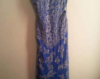 Royal blue full length sequins Gown\prom dress