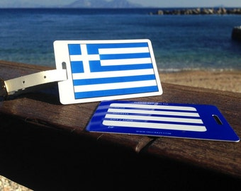 2 GREECE Bag Tags, Travel Luggage Tags, Suitcase Tags, Novelty Bag Tags, Country Bag Tags, Country Suitcase Tags, Themed Bag Tags