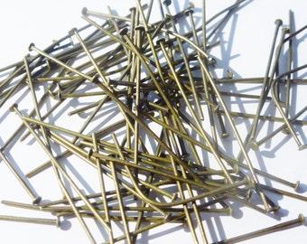 D-03318 - 20 Headpins ant. Bronze 3,5cm
