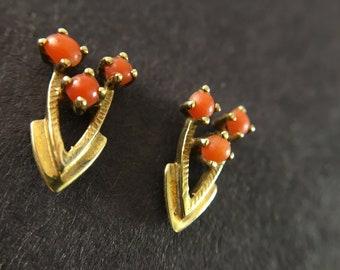 9k Art Deco Coral Earrings |  Coral Earrings | Gold Earrings | Coral Studs | Vintage Earrings | Antique Earrings | Gift for Her | Earrings