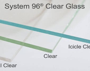 """4 Sheets 12x12"""" Icicle Clear 100ICE Spectrum System 96 COE Fusing Glass Sheet"""