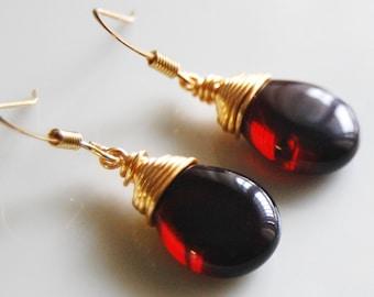 Garnet Glass Earrings , Garnet Gold Dangle Earrings , January Birthstone , Wire Wrapped Earrings