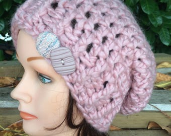 Pink Crocheted Slouch Hat 36/17