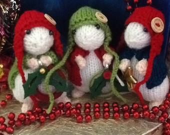 Hand knitted Christmas mice. So cute at just 4 1/2 inches tall!