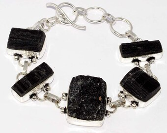 Black Tourmaline HANDMADE 925 Silver Plated Bracelet A 149