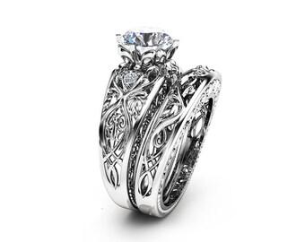 2 Carat Engagement Ring Set Unique 14K White Gold Bridal Rings 2 Carat Moissanite Ring Art Deco Engagement Rings