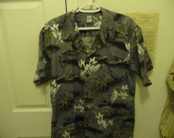 Vintage Palm Wave Aloha Hawaiian Men's Medium S/S Shirt Gray Background white floral