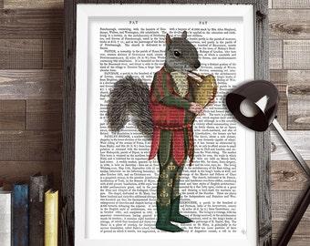 Squirrel art print - Squirrel minstrel - squirrel print Woodland Nursery décor woodland animal nursery print Cute animal art for kids rooms