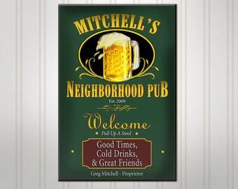 Personalized Neighborhood Bar Sign, Burgundy or Green Man Cave Pub Sign, Custom Beer Sign, Man Cave Bar Decor