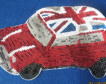 Iron on sequined British car applique