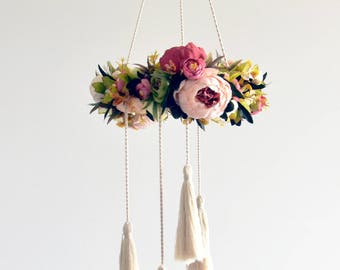 Baby mobile floral wreath. Floral mobile newborn gift, baby girl nursery. Nursery floral art. Crib mobile, Flower chandelier. Pink peonies