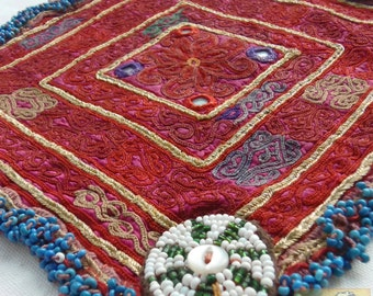 Afghanistan: Vintage Embroidered Zazi Doily, Item E64