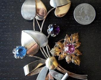 Striking Brooch - SIlver/Vermail/Rhinestone Flowers  -Sterling Silver