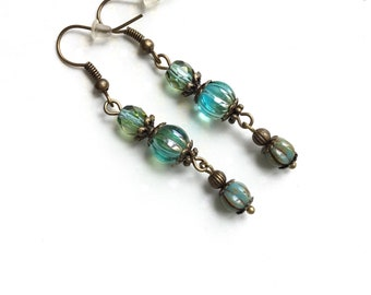 Blue brass melon earrings czech glass melon brass earrings dangle earrings