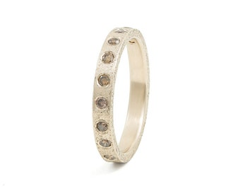 Women's 14K Champagne Gold 3mm Rustic Band with Flush Set Brown Diamonds