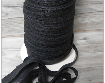 5/8 BLACK Fold Over Elastic 5 or 10 YARDS
