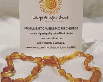 Natural Raw Honey Baltic Amber Teething Necklace