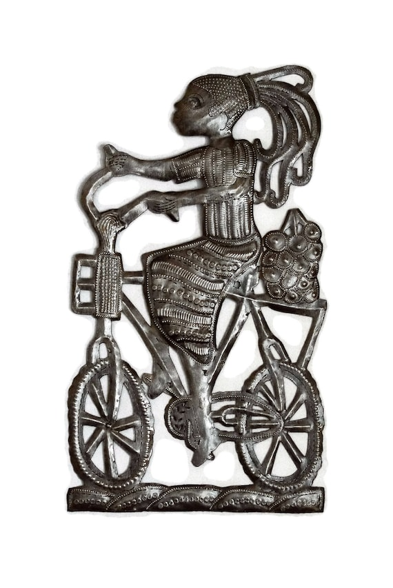"""Girl in a Bicycle, Haitian Metal Art from Recycled Oil Drums, Fair Trade 9"""" x 16"""""""