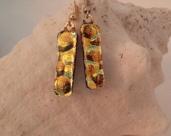 Gold Dichroic Dangle Earrings, Dichroic Fused Glass Earrings, Dichroic Earrings, Glass Earrings, Fused Glass Earrings – DE0032