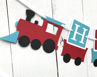 Train Birthday Banner/ Red/ Turquoise/ Train party decor/ Name/ Age/ Customized in any Color Combination/ Train Theme Banner/