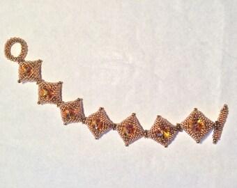 Topaz Square Bead & Crystal Bracelet from Lyuda