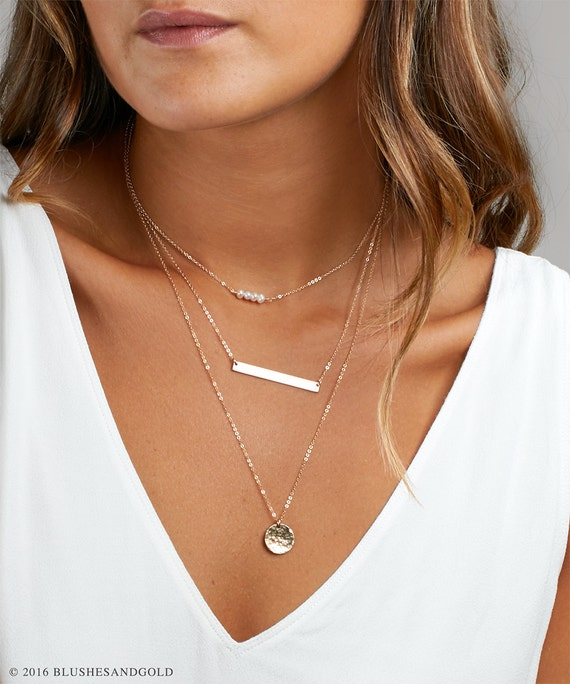 Personalized Layered Necklace, Gift Mom, Engraved Bar Necklace Birthstone, Simple Layering Necklace, Bridesmaid Necklace by Etsy