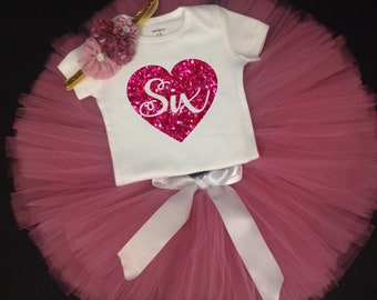Rose Pink Sixth Birthday Outfit, Girls Birthday Tutu, Sixth Birthday Girl Outfit, 6 Birthday Tutu, 6th Birthday Tutu Set, 6th Birthday Tutu