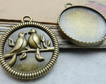 10PCS antique bronze pendant trays couple birds on tree branch 25mm round bezel cabochon mountings- W7532