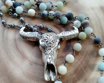 Carved Steer Skull   Sterling and Amazonite