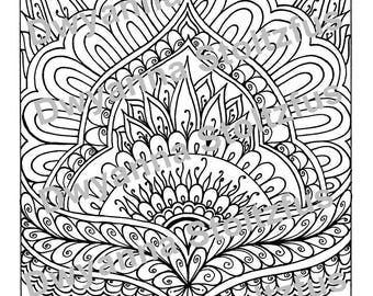 Henna Design Coloring Page JPG