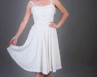 50's Style White knee length dress/White Chenille dress/Handmade dress/Vintage fabric dress/One of a Kind Vintage fabric dress