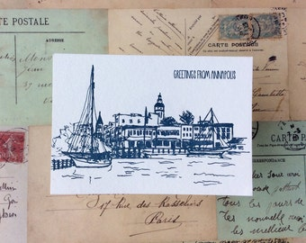 Annapolis - five letterpress postcards