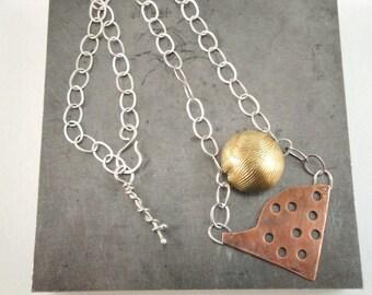 Pendant necklace. Industrial look.  Sterling, copper, brass round bead. Double pendant. Unique. OOAK. SRAJD. Devine Designs Jewelry.