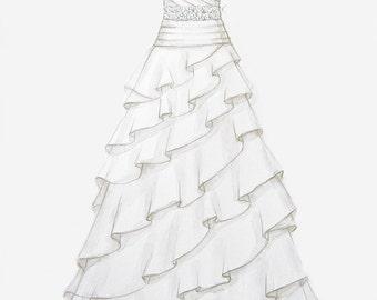 Custom Wedding Dress Illustration w/ swarovski crystal accents