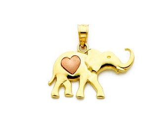14k Yellow gold Elephant charm with rose gold heart accent.
