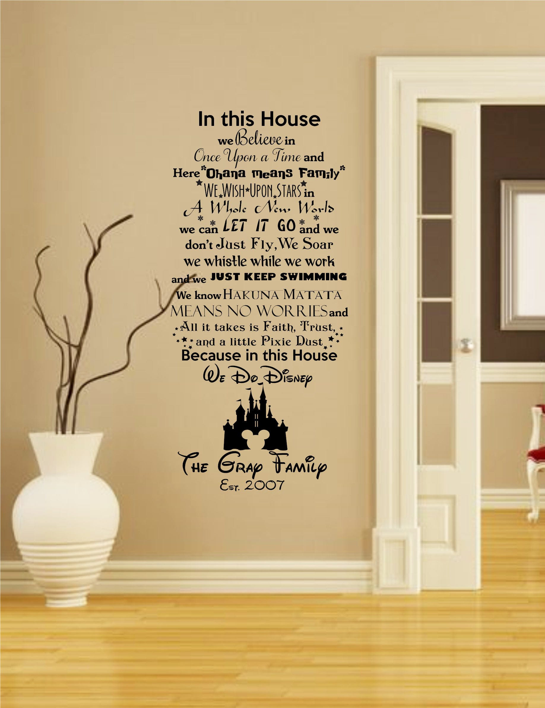 Personlized In this House We do Disney Wall Decal with Mickey