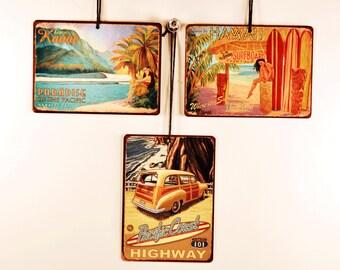 Surf Themed Signaments, Set of 3 Mini Metal Signs, Island, California, Hawaii, Beach, Tropical, SMS5