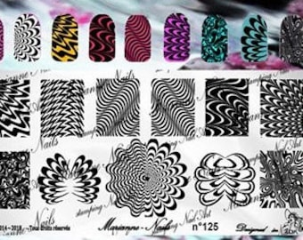 Nail art stamping plate Marianne Nails water marble 125