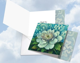 CQ4594ATYG Square-Top Thank You Greeting Card: Blue Magnolia Ft. Image of a Beautifully Painted Enormous White Flower in Full Bloom,w/ Env.