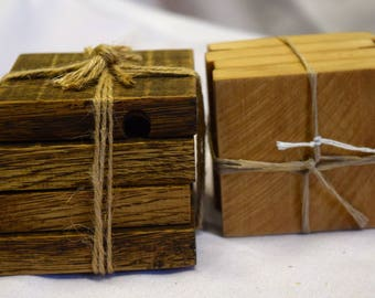 Drink Coasters Handmade from Recycled Pallet Wood, Handmade,